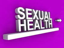 Sexual health. Heading with arrow on purple background stock images