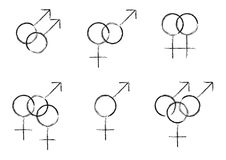 Sexual Identity Symbols. Using Traditional Male/Female Gender Symbols Stock Photography