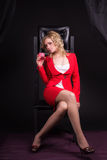 Sexual  lady in red Stock Images
