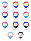 Sexual orientation symbols and flags. Represented with pointers royalty free illustration