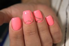 Sexual pink manicure royalty free stock photos