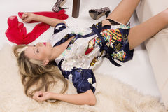Sexual pretty girl lying on the floor Royalty Free Stock Photo