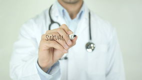 Sexual Problems, Doctor Writing on Transparent Screen. Man writing stock footage