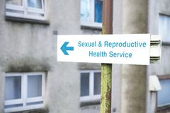 Sexual and reproductive health centre sign. Uk royalty free stock images