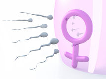 Sexual symbol woman protected by latex and sperms Royalty Free Stock Photo