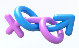 Sexual symbols man and woman making love. 3d illustration Stock Photo