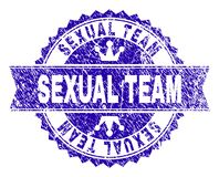 Scratched Textured SEXUAL TEAM Stamp Seal with Ribbon stock illustration