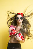 Sexual undressed pretty girl with gifts Royalty Free Stock Photos