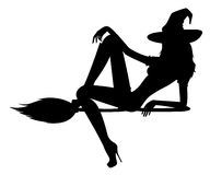 Sexual witch. Beautiful sexual witch sits on a broom Stock Image