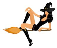 Sexual witch. Beautiful sexual witch sits on a broom Stock Photos