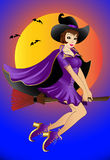 Sexual witch , flying on broom Royalty Free Stock Photos