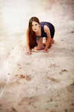 Sexual woman on the beach sand Stock Photos