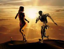 The sexual woman with cyborg. On a mirror background Stock Image