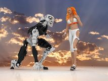 The sexual woman with cyborg. On a mirror background Stock Images