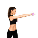 Sexual woman with dumbbell doing fitness Royalty Free Stock Images