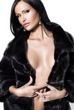 Sexual woman in a fur coat Royalty Free Stock Image