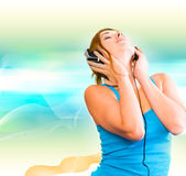 Sexual woman in headphones Royalty Free Stock Photos