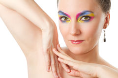 Sexual woman with make-up of colored shadows Stock Photography
