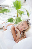 Sexual woman in tropical sea beach club. Royalty Free Stock Photography