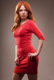 Sexual woman wearing red dress Stock Photos