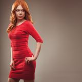 Sexual woman wearing red dress Stock Image