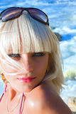 The sexual young blonde the girl on a beach Stock Photography