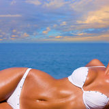 Beautiful Girl Relaxing on the Beach Royalty Free Stock Photos