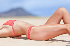 Sexual young girl Relaxing on a beach Stock Images