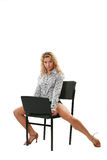 Sexual young woman with laptop Stock Images