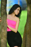 Sexual young woman withlong black hair in a bright blouse posing in nature stock image