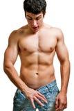 Sexualität und Kraft - bemannen Sie das Schauen der inneren Hosen Stockfotografie