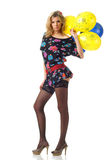 Sexuality. Young sexy babe posing with balloons Stock Photo