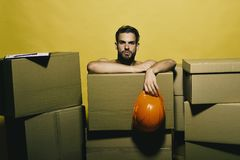 Sexuality and building concept. Macho with serious face stock images