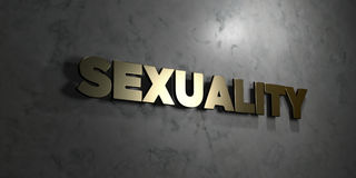 Sexuality - Gold text on black background - 3D rendered royalty free stock picture. This image can be used for an online website banner ad or a print postcard Stock Photos