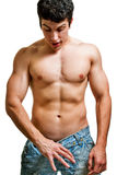 Sexuality and potency - man looking inside pants Stock Photography