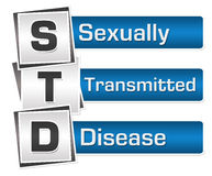 Sexually Transmitted Disease Blue Grey Squares Vertical. Sexually transmitted disease text written over blue grey background Royalty Free Stock Photos