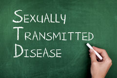 Sexually Transmitted Disease. Hand writing sexually transmitted disease on green blackboard Royalty Free Stock Images
