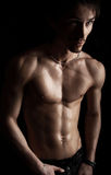 Sexualmacho with a beautiful body of the athlete. Stock Images