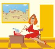 Sexuell der Sekretär in einem roten Kleid Stockfoto