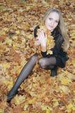 Sexuelle Blondine des Portraits im Wald Lizenzfreies Stockbild