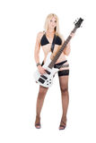 Sexuelles blondes und eine weiße Baß-Gitarre Stockfotos