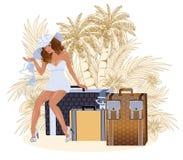 Sexuelles Reisendmädchen des Sommers Stockfoto