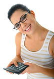 Accountant. Happy woman or mom holding at calculator. concept for economy or finance royalty free stock images