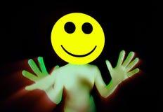 acid smiley rave dancer stock photo
