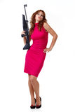 Sexy Action Girl with gun. Isolated over white Royalty Free Stock Image
