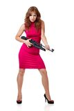 Sexy Action Girl with gun. Isolated over white Royalty Free Stock Images