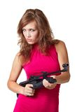 Sexy Action Girl with gun Royalty Free Stock Photography