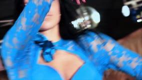 Adolescence brunette girl dances on stage. Slowmotion. Adolescence brunette girl dances on stage. Slow motion stock video