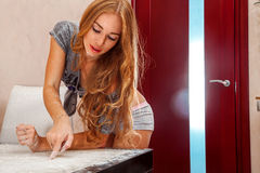 adult girl cooking with flour Royalty Free Stock Photos