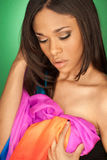 African American fashion model wearing a scarf stock photography